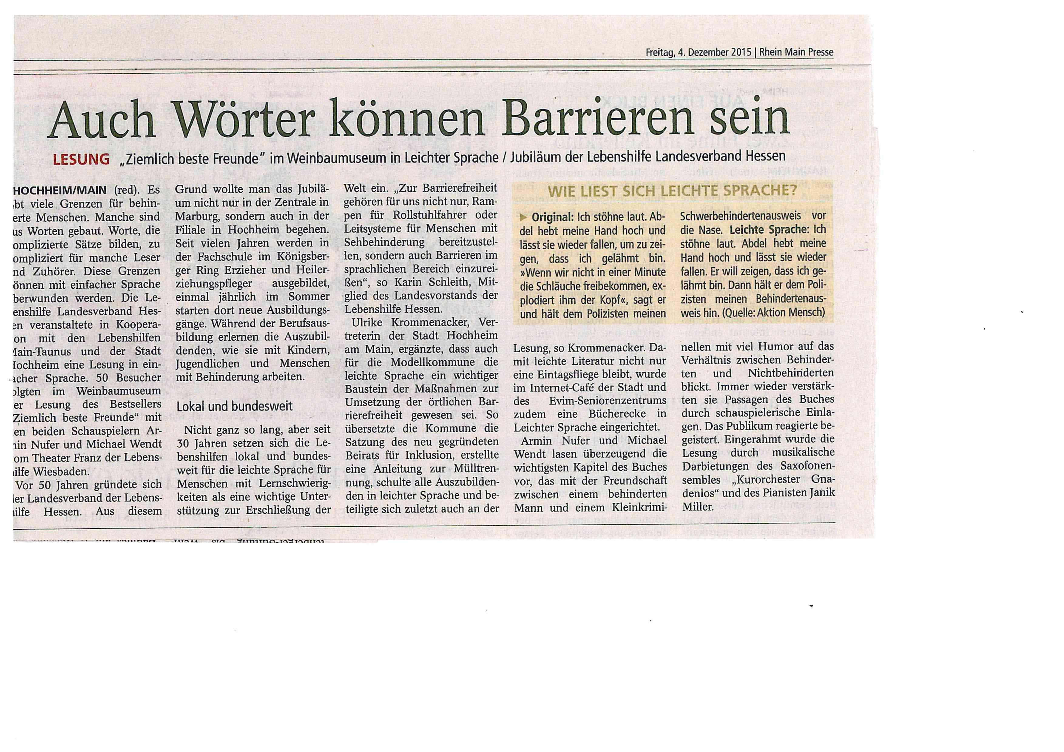 Lesung 29.11.15 - Zieml.beste Freunde Presseartikel o. Foto