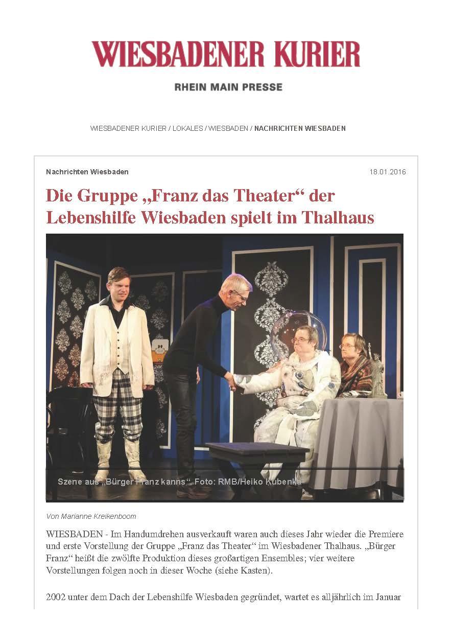 """Die Gruppe """"Franz das Theater"""" der Lebenshilfe Wiesbaden spielt im Thalhaus - Wiesbadener Kurier_Seite_1"""