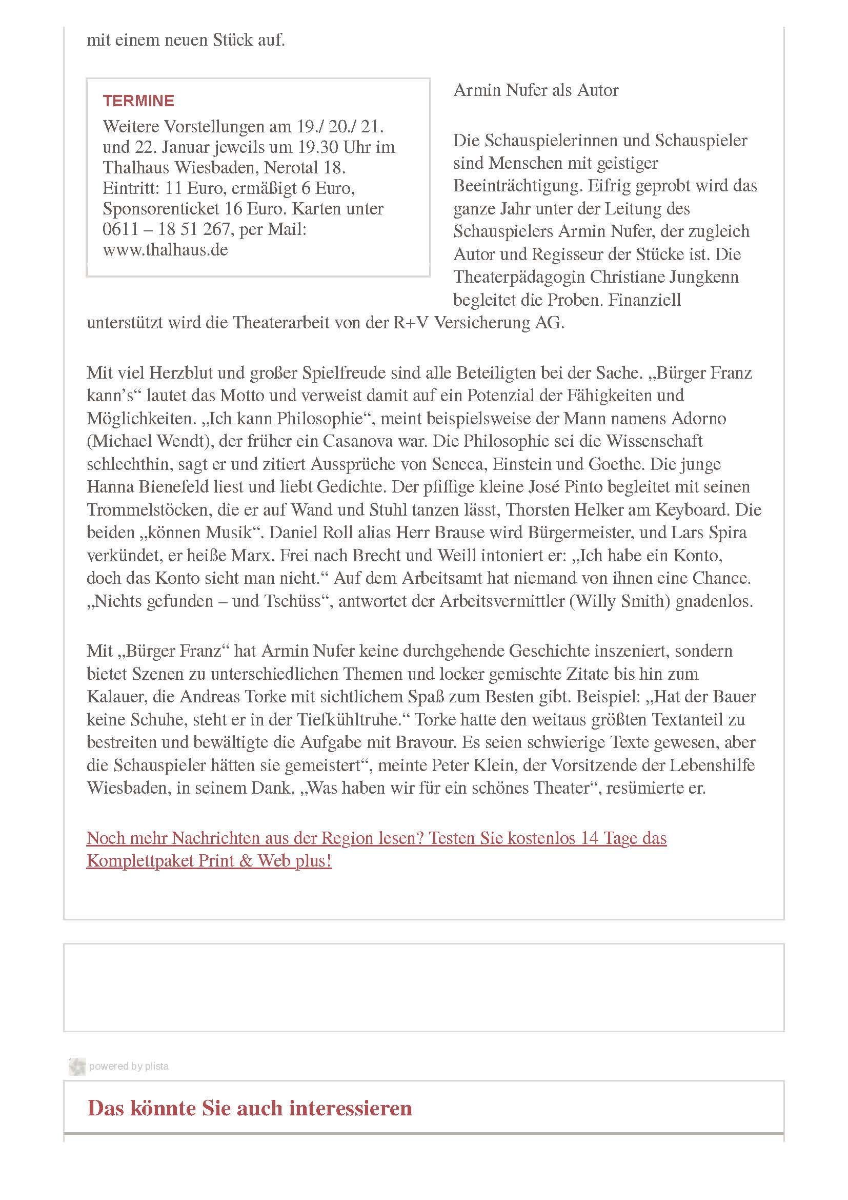 """Die Gruppe """"Franz das Theater"""" der Lebenshilfe Wiesbaden spielt im Thalhaus - Wiesbadener Kurier_Seite_2"""